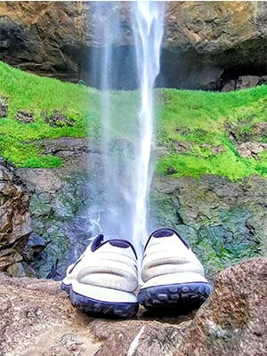 shoes picture with waterfalls