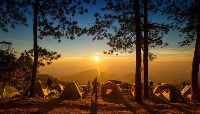 tent picture with sunrise